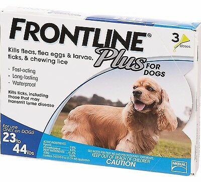 New Merial Frontline Plus for Dogs 23 to 44 lbs 3 pack (3 month supply)