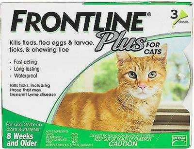 (Open Box) New Merial Frontline Plus for Cats 8 Weeks or Older 3 Doses