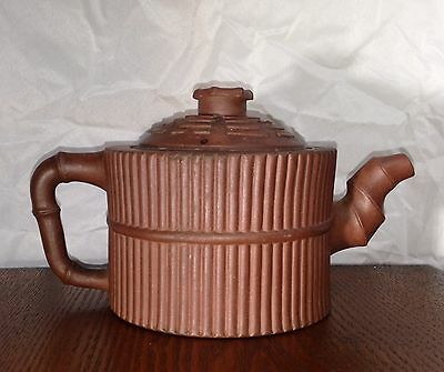 Fine Antique 18th 19th Century Chinese Yixing Pottery Bamboo Teapot