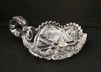 Antique American Brilliant ABP Cut Glass Handled Nappy Signed J. Hoare & Co.