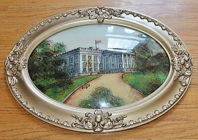 """Antique White House Reverse Painting on Convex Oval Glass, Frame 25"""" X 19"""""""