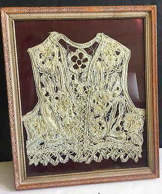 Early c1800s Colonial Intricate Silk Cotton Woman's Vest Framed