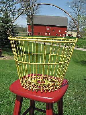 Vintage Yellow Vinyl Coated Metal Wire Egg Gathering Basket from an OHIO Farm