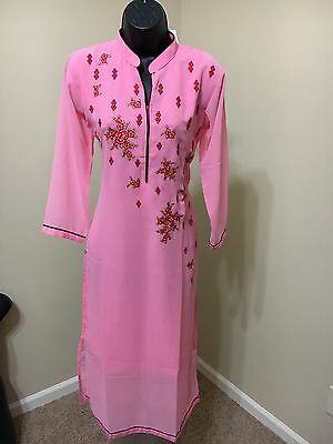 Indian Traditional Bollywood Kurti Women CHIFFON Designer Dress Top US size 40