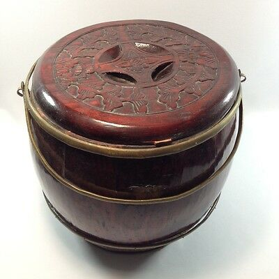 Chinese Carved Wood and Brass Storage Barrel