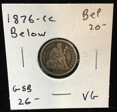 1876-CC Below 10 cents Liberty Seated Dime (RC769)