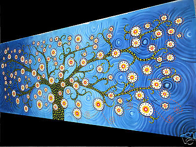 Abstract Tree  Blue Aborignal Art Canvas Painting 150cm Commission Coa By Jane