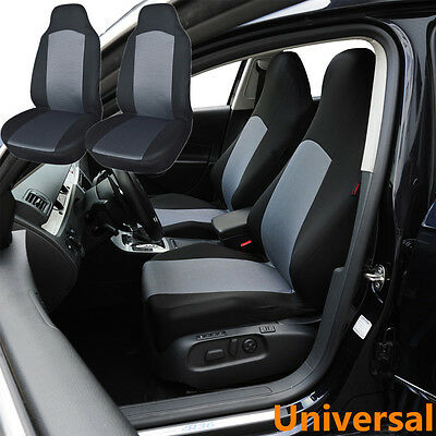 2pc Breathable Front Car Seat Covers Bucket Cushion For Built In Belt Black