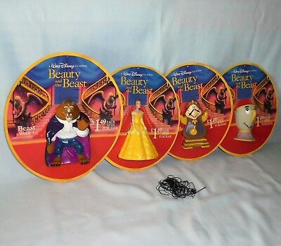 Disney Classic Beauty and the Beast Hand Puppet Toy Set Pizza Hut Display 1992