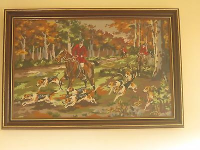 Large Vintage Mid Century Framed Hunting Scene Tapestry Needlepoint