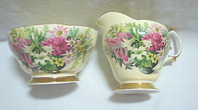 Antique Vintage Queen Anne Bone China Sugar and creamer Floral pattern  FEDDEN