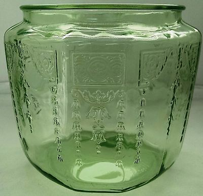 Anchor Hocking Princess Cookie Jar No Lid Green Depression Glass