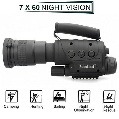 7x60 Infrared Night Vision Monocular Hunting Camping Hiking Telescope 400M DVR