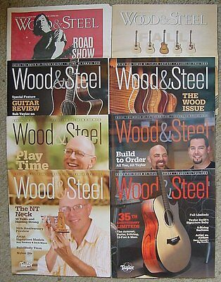 8 Issues Wood & Steel Taylor Guitar Magazines 2007 2008 & complete 2009
