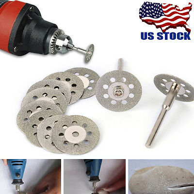 US 10Pcs 22mm Diamond Cut Off Wheel Disc Gems Fits Rotary Multi Tools Set Kit