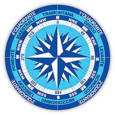 Rosa dei venti wind rose Windrose etichetta sticker 12cm x 12cm