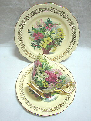 #1 Antique Vintage Queen Anne Bone China Floral Trio FEDDEN