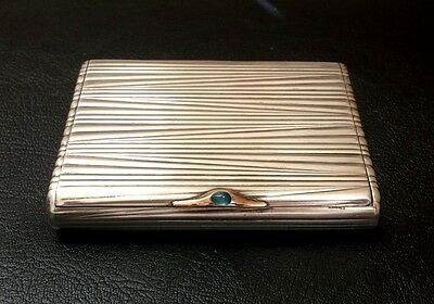 Russian Antique Silver Cigarette Case with Gold with Sapphire Clasp