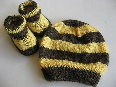 Hand knitted 'Footy Colours Hawthorn' baby booties & hat to fit 0-3 months