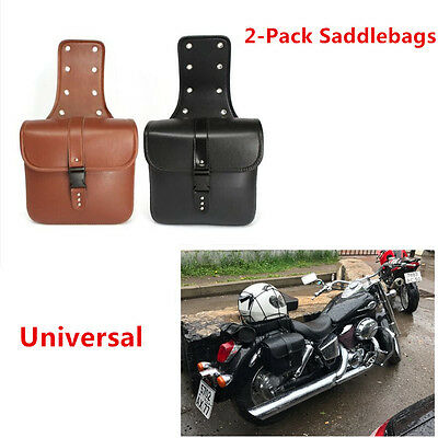 2X High Quality Brown PU Leather Waterproof Riding Bags Saddlebag for Motorcycle
