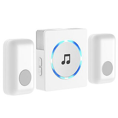 New Chime JETech 2-Push Bell Portable Wireless Door Plug-in Push Button Home