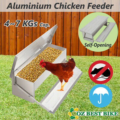 Auto 4~7KG Chicken Feeder Aluminium Treadle Self Opening Chook Poultry