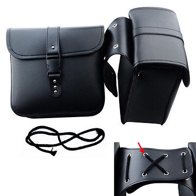 2 Pcs Mini Motorcycle Saddle Bags PU Leather Side Storage Tool Pouch Waterproof