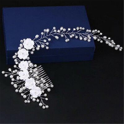 Handmade Luxury Wedding Hair Jewelry Bridal Pure White Flowers Pearl Hair Combs