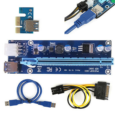 USB3.0 PCI-E 1x-16x Powered Extender Riser SATA Adapter Card Cable lot 60CM ZM