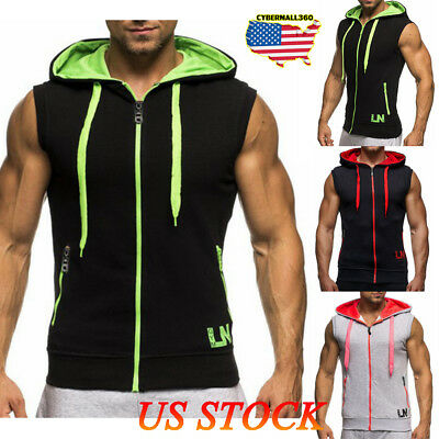 Mens Sleeveless Zip Up Hoodie Hooded Sweatshirt Lightweight Hoody Tops GYM Sport