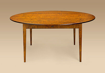 Dining Room Table Tiger Maple Wood Round 66in Shaker Style Kitchen Furniture New