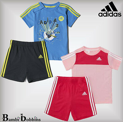 Adidas Summer Baby Girl Boy Outfit Set T-Shirt Shorts Age 2-3-4 Years Pink Blue