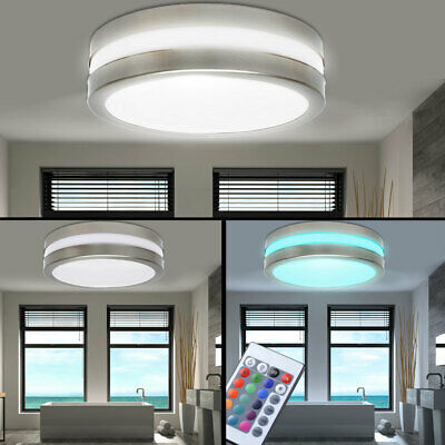 Rgb Ceiling Light Veranda Remote Control Ip44 Led Bathroom Outdoor Lamp Dimmable