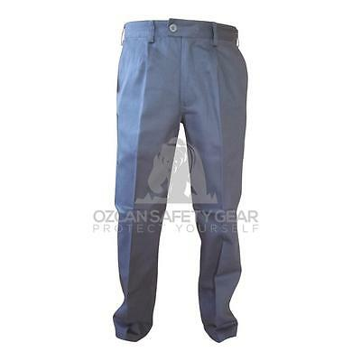 Mens Work Pants Bisley Cotton Drill Trousers 8 Pockets Safety Navy Khaki BP6007