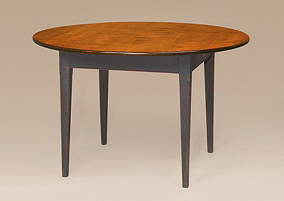 Antique Style Dining Room Table 66in Round Tiger Maple Wood Shaker Style Quality
