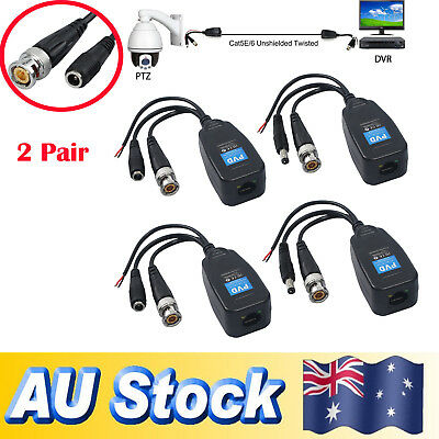 4x CCTV Coax BNC Video Data Power Balun Transceiver to CAT5e 6 RJ45 Connector AU