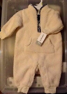NWT Carter's Baby sherpa fleece one piece coverall, Size 3 Months, Retail $20