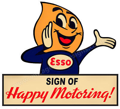 "Esso Sign Of Happy Motoring Digitally Cut Out Vinyl Sticker. 4"" X 4"" Overall."
