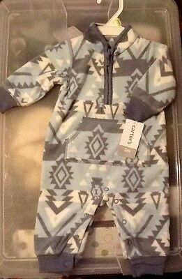 New with tags Carter's Baby fleece one piece coverall, Size 3 Months, Retail $20
