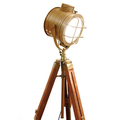 IMPORTED Hand made NAUTICAL TRIPOD LAMP Floor Table Spot Light Rustic Show Piece