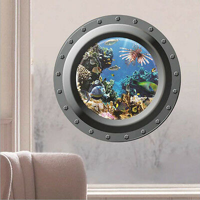3D Submarine Window Ocean Sea Fish Removable Wall Sticker Decal Vinyl Art Decor