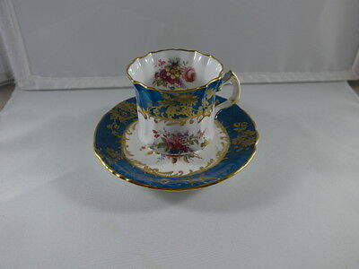 ORNATE HAMMERSLEY Cup & Saucer Turquoise  Floral & Gold