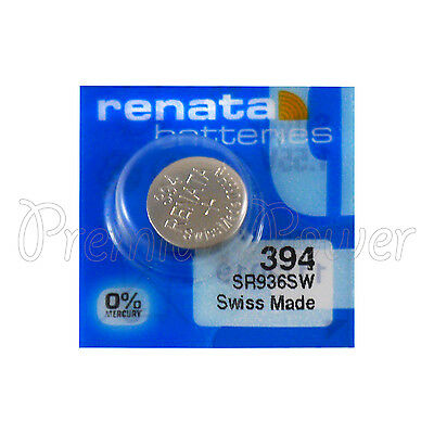 1 x Renata 394 Silver oxide battery 1.55V SR936W SR45 V394 Watch 0% Mercury