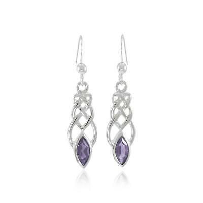 Celtic Knotwork Gem stone Sterling Silver Earrings by Peter Stone Jewelry