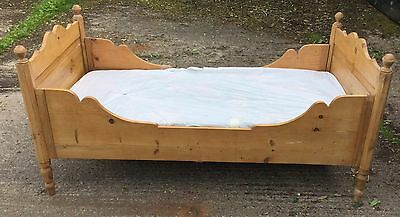 Antique Pine Single Bed With Carved Sides