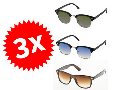 SUNGLASSES 1 - Set TRIS OCCHIALI DA SOLE UNISEX ESTATE VACANZA UV400