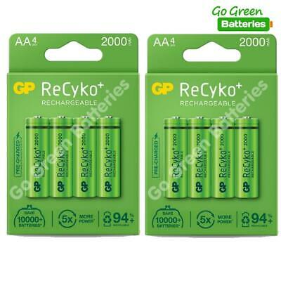 8 x GP Recyko+ Pro AA 2000 mAh Stay Charged Rechargeable Batteries NiMH HR6