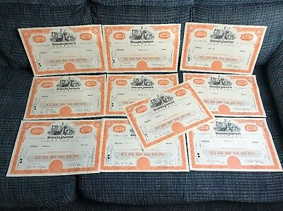 10 Howard Johnson Company Stock Certificate Lot Of 10
