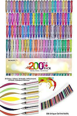 Reaeon 200 Color Gel Pens Coloring Set Art 100 NEW Colored Pen + 100 ink Refills
