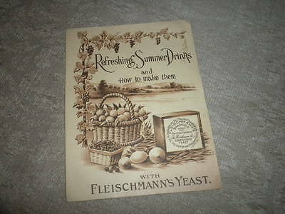 Fleischmann's Yeast Summer Drinks Advertising Brochure w how to recipes c1910